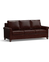 """Cameron Roll Arm Leather Sofa 90.5"""", Polyester Wrapped Cushions, Leather Signature Espresso"""