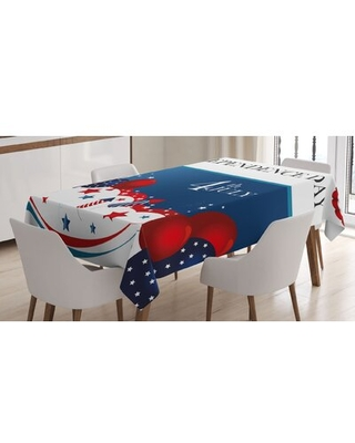 Cartoon Fireworks Uncle Sam Hat Stars and Balloons Patriotic IllustrationTablecloth East Urban Home