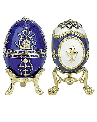 Design Toscano Peterhof Palace Romanov-Style Collectible Enameled Eggs, 3.5 inch, Set of Two, Full Color