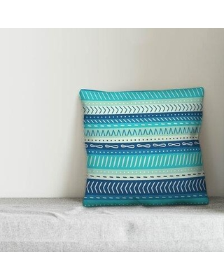 """Bungalow Rose Retzlaff Tribal Stripes Indoor/Outdoor Throw Pillow W000880325 Fill Material: Polyester/Polyfill Size: 18"""" x 18"""" Color: Teal/Dark Blue/Sea Green"""