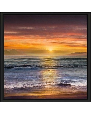 """Highland Dunes 'Sundown Descanso Beach' Graphic Art Print on Canvas BF126881 Size: 39.5"""" H x 39.5"""" W x 2"""" D Format: Floater Silver Framed"""