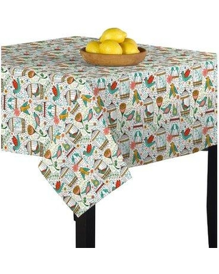 """August Grove Jailyn Birds and Flowers Table Cloth BI130853 Size: 60"""" L x 60"""" W"""
