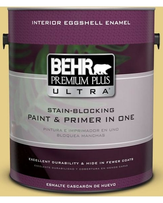 BEHR Premium Plus Ultra 1 gal. #T12-6 Lol Yellow Eggshell Enamel Interior Paint and Primer in One
