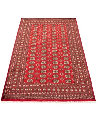 """One-of-a-Kind Esir Hand-Knotted 2010s Bokhara Red 6'1"""" x 8'10"""" Wool Area Rug"""