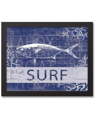 "Highland Dunes 'Surf Fish' Graphic Art Print on Canvas HLDS7926 Size: 12.73"" H x 15.73"" W Format: Black Framed"