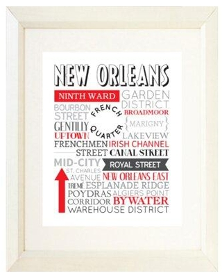 """Ebern Designs 'New Orleans Typography' Textual Art CG163409 Format: White Framed Paper Matte Color: White Size: 22.5"""" H x 18.5"""" W x 1"""" D"""