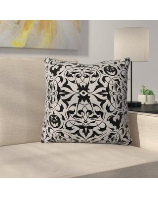 """The Holiday Aisle Henninger Gothique Throw Pillow W000478564 Size: 16"""" H x 16"""" W x 4"""" D Color: Gray/Black"""