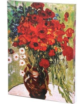 "Charlton Home 'Daisies & Poppies' by Vincent Van Gogh Painting Print on Wrapped Canvas CHRH7153 Size: 32"" H x 24"" W x 2"" D"