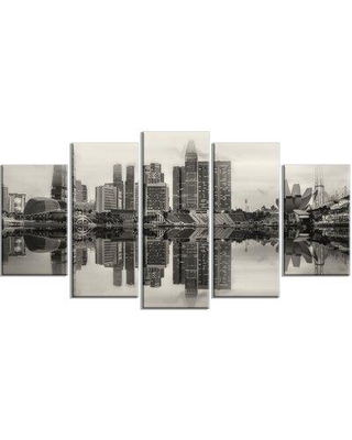 Design Art 'Singapore Skyline View Panorama' 5 Piece Photographic Print on Wrapped Canvas Set, Canvas & Fabric in White/Black | Wayfair PT10981-373
