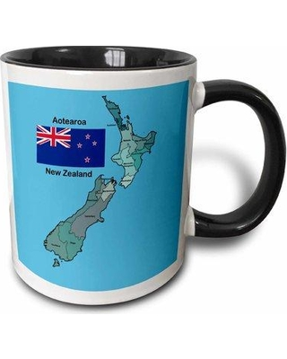 East Urban Home Flag and Map of New Zealand with All the Regions Identified and Named Coffee Mug W000533915 Color: Blue
