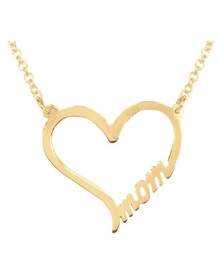 ♥ MOM Heart Necklace in 14K yellow gold plated sterling silver on an 18 In Gold Plated Sterling Silver cable link chain