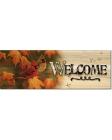 WGI GALLERY Welcome Maple Leaves and Cardinals Graphic Art Plaque W248MLC