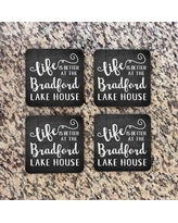 4 Wooden Shoes Personalized Chalkboard Look Lake House Coaster WF-3-105