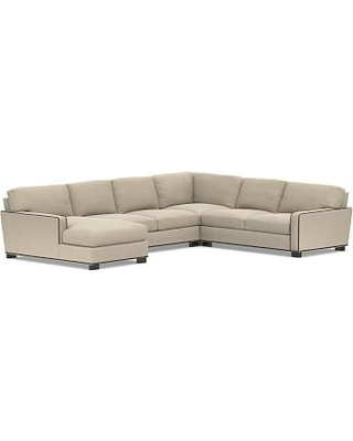 Turner Square Arm Upholstered Right Arm 4-Piece Chaise Sectional with Bronze Nailheads, Down Blend Wrapped Cushions, Sunbrella(R) Performance Chenille Cloud