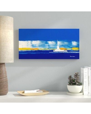 """Ebern Designs 'New York II' Acrylic Painting Print on Wrapped Canvas CG261490 Size: 18"""" H x 36"""" W x 1.5"""" D"""