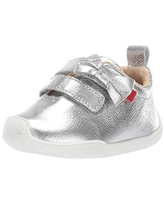 MARC JOSEPH NEW YORK Toddlers Boys/Girls Leather Double Velcro Strap with Bow Loafer, Silver Snake, 10.5 M US
