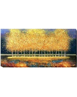 """Artistic Home Gallery 'Golden Stand' Painting Print on Wrapped Canvas 707EG Size: 12"""" H x 24"""" W x 1.5"""" D"""