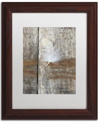 """Union Rustic 'Feather on Wood I' Framed Photographic Print on Canvas UNOR1011 Size: 20"""" H x 16"""" W x 0.5"""" D Frame Color: Brown"""