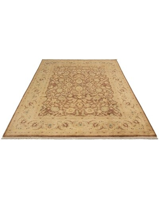 """One-of-a-Kind Naniouni Hand-Knotted 2010s Ushak Beige/Brown 8'10"""" x 11'10"""" Wool Area Rug"""