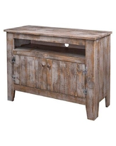 "Millwood Pines Lowndes Solid Wood TV Stand for TVs up to 48"", Wood/Distressed Finish in Gray, Size 30""H X 42""W X 15""D 