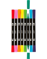 Yoobi Double Ended Brush Tip Markers, 8ct, Multi-Colored