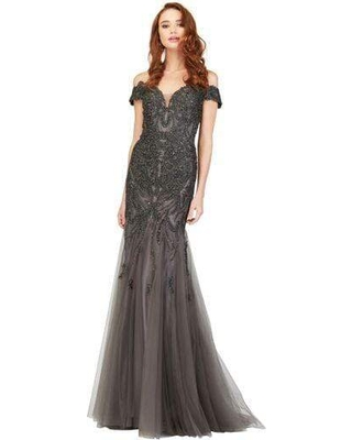 Cecilia Couture - 1853 Beaded Off-Shoulder Trumpet Dress