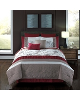 8pc Queen Ellie Comforter Set Tan & Ivory - Riverbrook Home, Red White Beige
