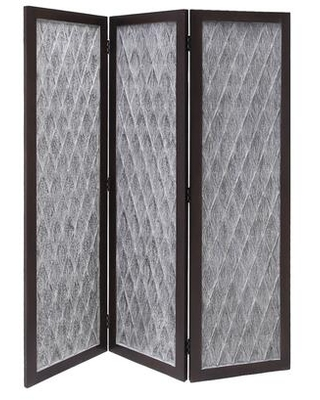 BM205788 Wooden 3 Panel Room Divider with Textured Diamond Pattern Gray and