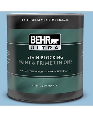 BEHR ULTRA 1 qt. #560D-4 Madras Blue Semi-Gloss Enamel Exterior Paint and Primer in One