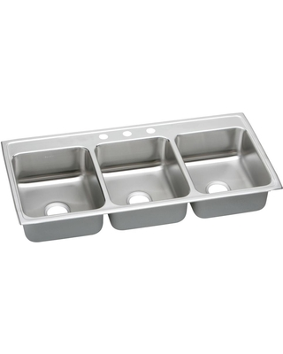 Elkay Elkay Lustertone Drop-In Stainless Steel 46 in. 3-Hole Triple Bowl  Kitchen Sink, Silver from Home Depot | BHG.com Shop