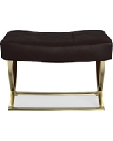 James Square Ottoman, Brass, Tuscan Leather, Solid, Chocolate