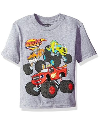 Nickelodeon Boys' Toddler Blaze and The Monster Machines Short Sleeve T-Shirt, Heather Grey, 2T