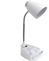 Limelights Organizer Gooseneck Desk Lamp with Tablet Stand for Dorm Room, White
