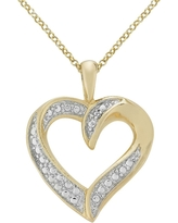Diamond Accent Heart Pendant in Silver Plated Brass (IJ-I2-I3), Women's