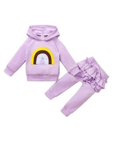 Children's Casual Cute Soft Cotton Simple Design Hooded Collar Rainbow Two-piece Pullover,Purple