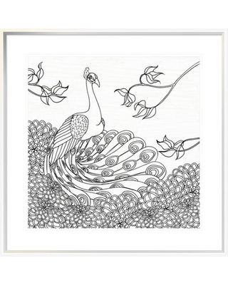 """'Palace Peacock I Black and White' Graphic Art Print on Canvas East Urban Home Format: White Framed Canvas, Matte Color: White, Size: 24"""" H x 24"""" W x"""