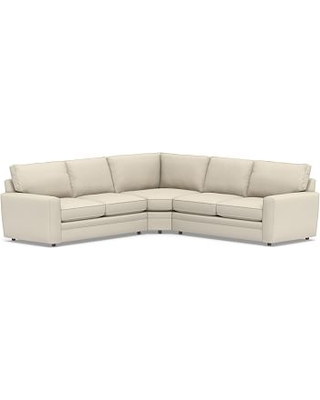 Pearce Square Arm Upholstered 3-Piece L-Shaped Wedge Sectional, Down Blend Wrapped Cushions, Performance Brushed Basketweave Ivory