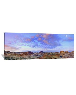 """East Urban Home 'Moon Over Sandstone Formations Valley Of Fire State Park Nevada' Photographic Print on Wrapped Canvas GCS452089 Size: 30"""" H x 75"""" W x 1.5"""" D"""