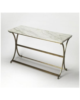 Pamina Collection 9324355 Console Table with Modern Style Rectangular Shape and Metal Material in Antique Gold
