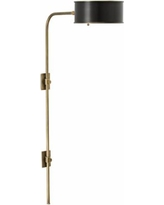 Overture Antique Brass and Black Plug-In Wall Lamp