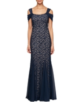 Alex Evenings Cold Shoulder Fit & Flare Evening Gown, Size 12 in Navy/Nude at Nordstrom