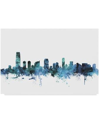 """Wrought Studio 'Jersey City New Jersey Blue Teal Skyline' Graphic Art Print on Wrapped Canvas W000429354 Size: 30"""" H x 47"""" W x 2"""" D"""