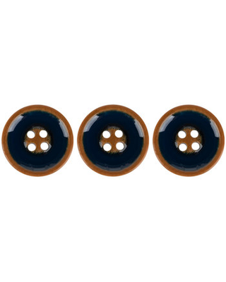 Navy Wood Look Buttons - 21mm
