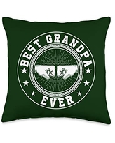 Father's Day Gift Co. Best Grandpa Ever Retro Fist Bump Papa Father's Day Gift Throw Pillow, 16x16, Multicolor
