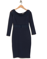 LOVE BY DESIGN Off-the-Shoulder Mesh Panel Bodycon Dress, Size X-Small in Navy Blazer at Nordstrom Rack