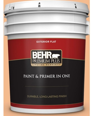 BEHR Premium Plus 5 gal. #270D-4 Brandy Butter Flat Exterior Paint and Primer in One