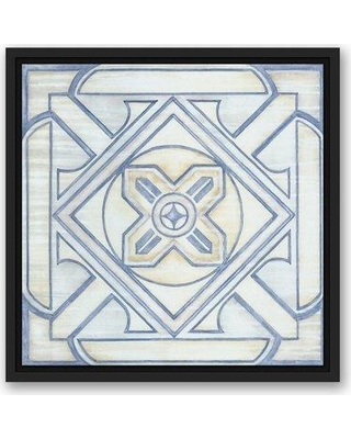 """Bloomsbury Market 'Blue and White Tile' Graphic Art Print on Canvas in Blue CMNU2111 Format: Black Framed Size: 16"""" H x 16"""" W"""