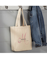 Name Meaning Monogram Personalized Small Canvas Tote Bag