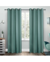 "Set of 2 Sateen Twill Weave Insulated Blackout Grommet Top Window Curtain Panels Thermal Green (52""x108"") - Exclusive Home"