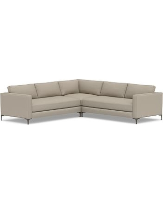 Jake Upholstered 3-Piece L-Shaped Corner Sectional with Bronze Legs, Polyester Wrapped Cushions, Performance Brushed Basketweave Sand